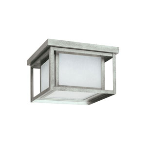 Uptown Pewter 10-Inch Two-Light Outdoor Flush Mount with Etched Glass