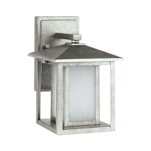 Uptown Pewter 11-Inch One-Light Outdoor Wall Sconce with Etched Glass