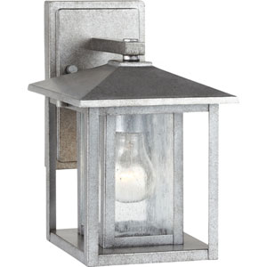 Uptown Pewter 11-Inch One-Light Outdoor Wall Sconce with Seeded Glass