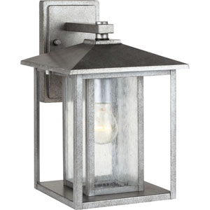 Uptown Pewter 14-Inch One-Light Outdoor Wall Sconce with Seeded Glass
