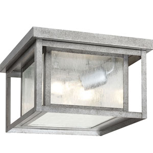 Uptown Pewter 10-Inch Two-Light Outdoor Flush Mount with Seeded Glass