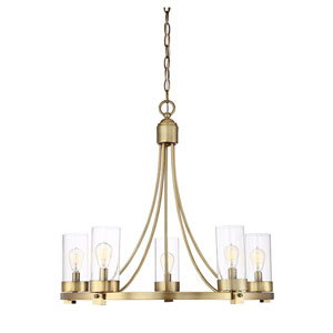 Whittier Natural Brass 26-Inch Five-Light Chandelier