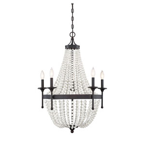 Grace Oil Rubbed Bronze Five-Light Chandelier with Wood Beads