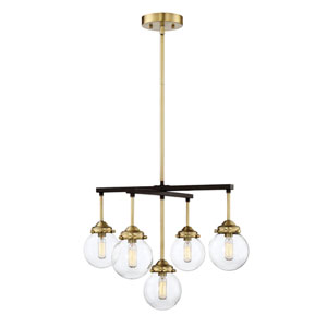 Nicollet Oil Rubbed Bronze and Brass Five-Light Chandelier