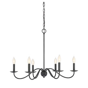 Evelyn Aged Iron Six-Light Chandelier