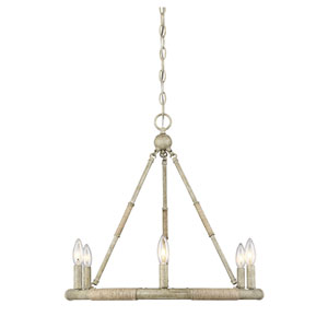 Selby Natural Wood and Rope Six-Light Chandelier