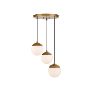 Nicollet Natural Brass Three-Light Pendant with White Opal Glass