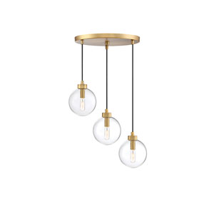Nicollet Natural Brass Three-Light Pendant