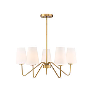 Selby Natural Brass 26-Inch Five-Light Chandelier with White Shades