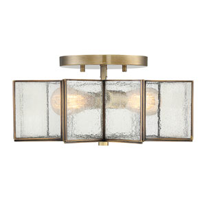 Kenwood Natural Brass Two-Light Star Semi Flush Mount
