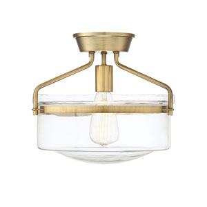 Nicollet Natural Brass 13-Inch One-Light Semi Flush Mount
