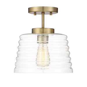 Kenwood Natural Brass 10-Inch One-Light Semi Flush Mount with Ribbed Glass