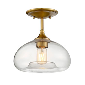 Nicollet Natural Brass 11-Inch One-Light Semi Flush Mount
