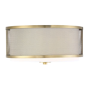Selby Natural Brass Three-Light Flush Mount Drum  with White Fabric Shade
