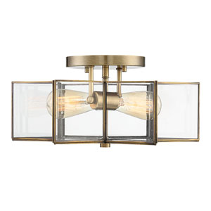 Kenwood Natural Brass 16-Inch Two-Light Semi Flush Mount