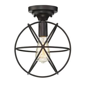 River Station Oil Rubbed Bronze Globe 10-Inch One-Light Semi Flush Mount