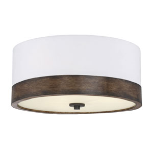 Evelyn Walnut Wood Three-Light Flush Mount Drum