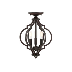 Whittier Quatrefoil  Oil Rubbed Bronze Three-Light Semi Flush Mount