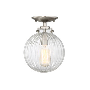 Whittier Brushed Nickel One-Light Semi Flush Mount with Ribbed Glass