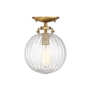Whittier Natural Brass One-Light Semi Flush Mount with Ribbed Glass