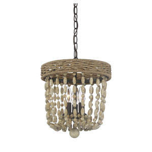 Grace Oil Rubbed Bronze and Rope Three-Light Pendant with Wood Beads