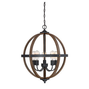 River Station Wood and Black Five-Light Chandelier