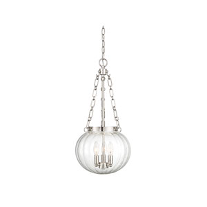 Whittier Polished Nickel 15-Inch Three-Light Pendant