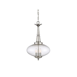 Whittier Polished Nickel Three-Light Pendant with Seeded Glass