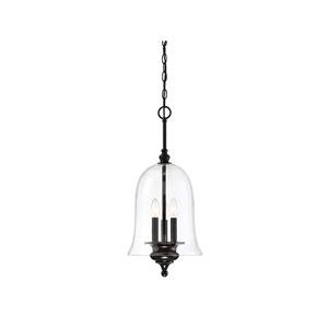 Whittier Matte Black Three-Light Bell Pendant