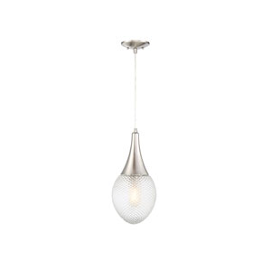 Nicollet Brushed Nickel Eight-Inch One-Light Mini Pendant with Diamond Cut Glass