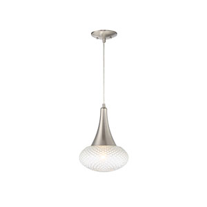 Nicollet Brushed Nickel 10-Inch One-Light Mini Pendant with Diamond Cut Glass
