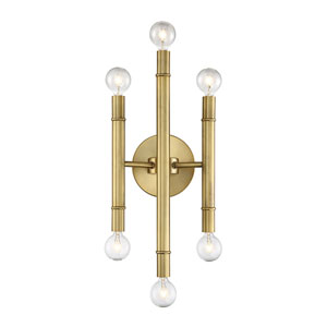 Nicollet Natural Brass Six-Light Wall Sconce