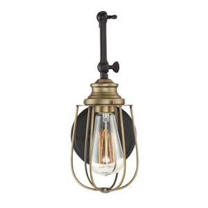 River Station Rubbed Bronze with Brass One-Light Wall Sconce