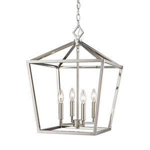 Kenwood Satin Nickel 16-Inch Four-Light Lantern Pendant
