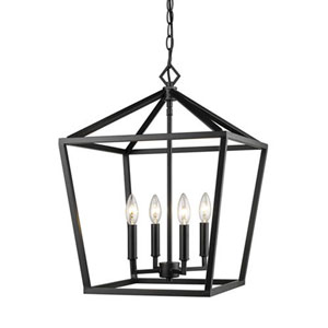 Kenwood Matte Black 16-Inch Four-Light Lantern Pendant