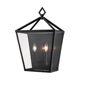 Kenwood Powder Coat Black 20-Inch Two-Light Outdoor Wall Sconce