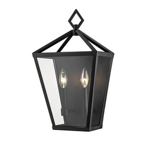 Kenwood Powder Coat Black 18-Inch Two-Light Outdoor Wall Sconce