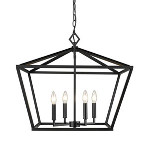 Kenwood Matte Black 23-Inch Four-Light Lantern Pendant