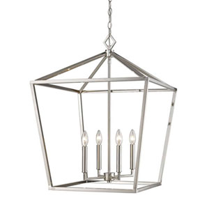 Kenwood Satin Nickel 20-Inch Four-Light Lantern Pendant
