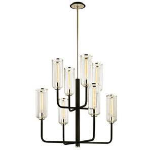 Alma Black and Polished Nickel Eight-Light Chandelier
