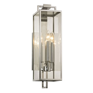 Beatty Polished Stainless Three-Light Outdoor Wall Sconce