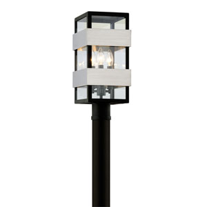 Champion Textured Black and Brushed Stainless Steel Three-Light Outdoor Post Mount