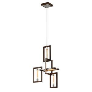 Handel Bronze and Polished Stainless 24-Inch Four-Light Pendant