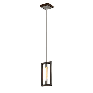 Handel Bronze and Polished Stainless One-Light Mini Pendant