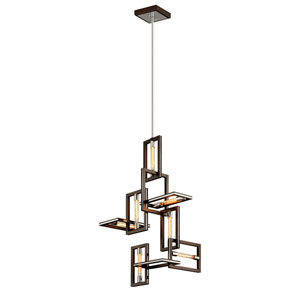 Handel Bronze and Polished Stainless Seven-Light Pendant