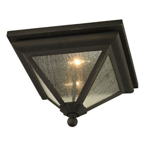 Mitre Vintage Bronze Two-Light Outdoor Flush Mount