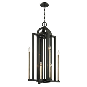 Southwick Textured Bronze and Champagne Silver Leaf Eight-Light Pendant