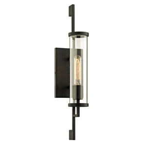 Batten Forged Iron 21-Inch One-Light Outdoor Wall Sconce