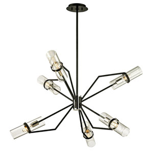 Barlow Textured Black and Polished Nickel 36-Inch Six-Light Chandelier