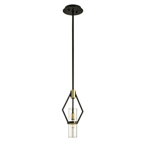 Barlow Textured Bronze and Brushed Brass Seven-Inch One-Light Mini Pendant
